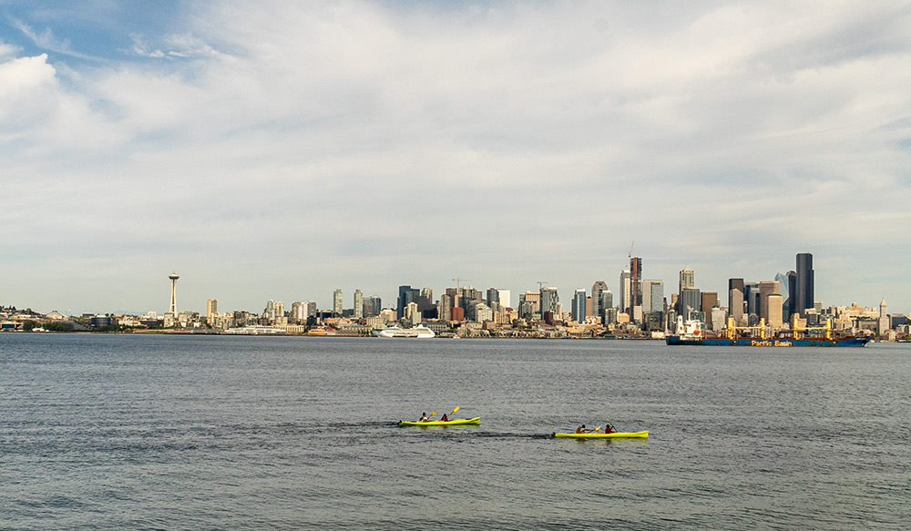 view from luna park of the seattle skyline across elliot bay